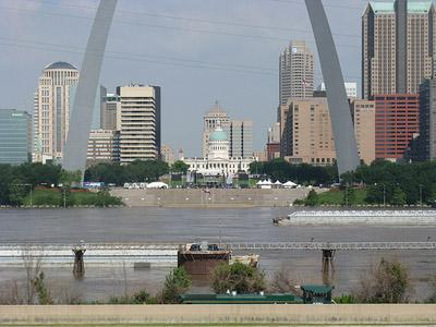 Looking west from Illinois at downtown St. Louis over a very high Mississippi River on July 1, 2011. The river is not expected to flood any higher this weekend, and should crest at just four feet above flood stage on July 2.