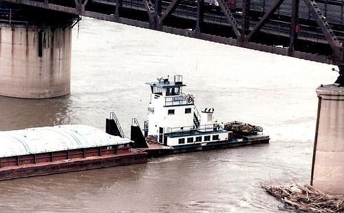 A barge on the Mississippi River.