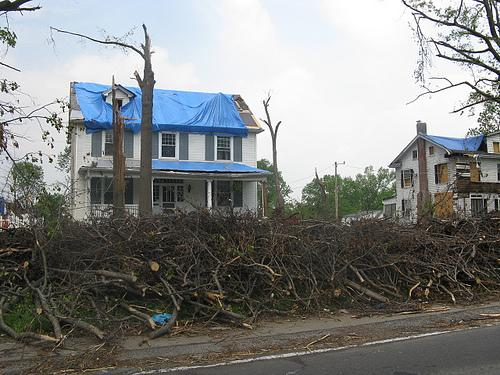 "A home damaged by the ""Good Friday"" (April 22) tornadoes of 2011 in Ferguson, Mo."