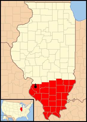 A map of the area of the Catholic Diocese of Belleville, Ill.