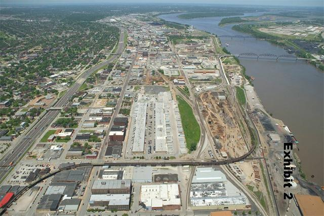 North Riverfront Business Corridor aerial photo. Looking north: Municipal River Terminal on lower right, Produce Row in center, I-70 on left, Tri-/City Port on upper right. Exhibit 2 from the SLDC RFQ.