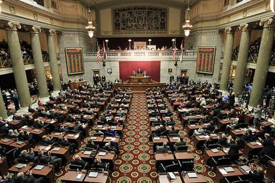 The chambers of the Missouri House of Representatives at the Missouri State Capitol in Jefferson City, Mo.