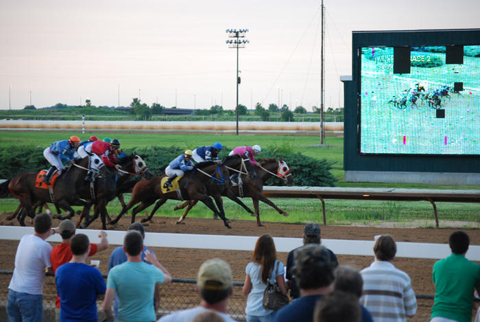 Horses race to the finish line at Fairmount Park Racetrack. The Jumbotron shows the action, and its age in the background. About $14 million will go to the racetrack in a recent account release. Some of the money will be used for upgrades and repairs.