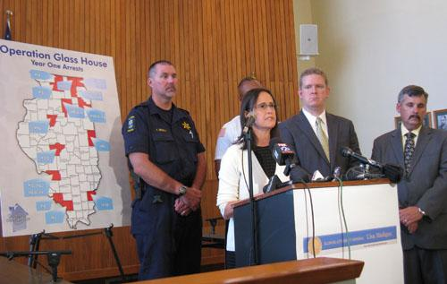 "Ill. Atty. Gen. Lisa Madigan speaks at a press conference on Aug. 25, 2011 regarding ""Operation Glass House,"" an effort to go after the top 25 child pornography consumers in the state."