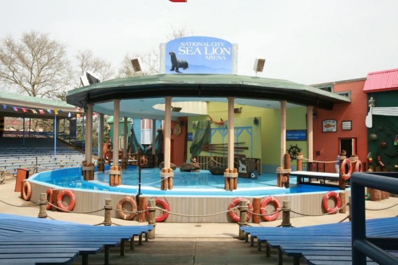 The National City Sea Lion Arena at the St. Louis Zoo. One of the sea lions died Sunday following a performance at the arena.