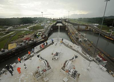 Traveling through the Panama Canal.