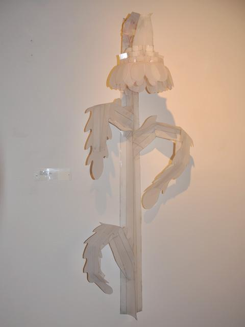 "A sculptural piece by Edmondson, entitled ""Empty Gesture,"" 2009. Pencil, vellum, tape, and staples."