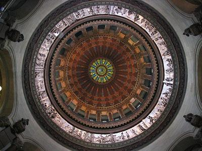 The inside of the dome of the Illinois Capitol building.