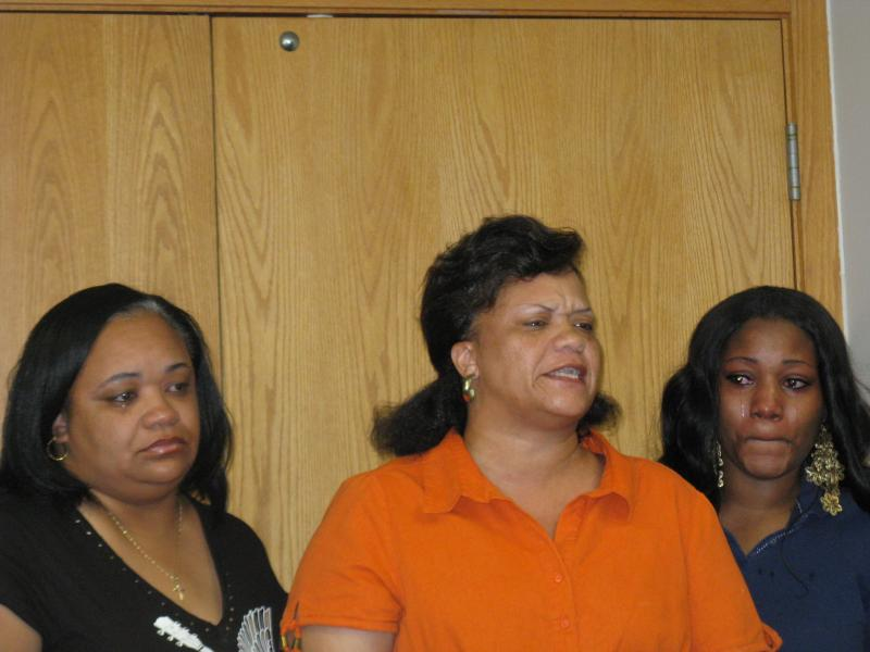 Yokeia Smith's aunts Gayle Jones (at left) and Martenia Jones, along with cousin Dawn Triplett (at far right), addressing the media regarding Smith's case.