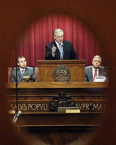 Missouri Gov. Jay Nixon delivering the annual State of the State Address on January 19, 2011. Missouri lawmakers are meeting September 14, 2011 to consider overriding vetoes by Nixon.