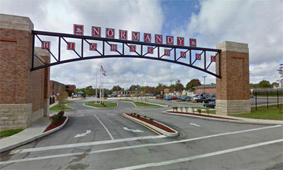 The gates of Normandy High School, one of the institutions in the Normandy School District.