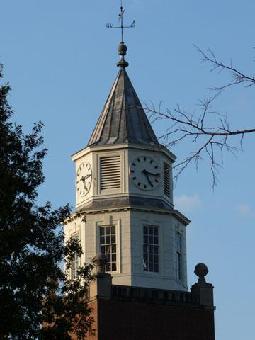 The top of the Pulliam Hall clock tower on the Southern Illinois University campus in Carbondale, Ill.
