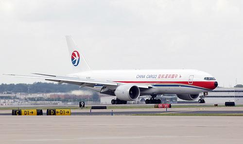A China Cargo Airlines Boeing 777 taxis to a loading area after landing for the first time at Lambert-St. Louis International Airport in St. Louis on September 23, 2011. The flights will return to China with Missouri made goods.