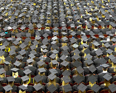 Field of students at a graduation