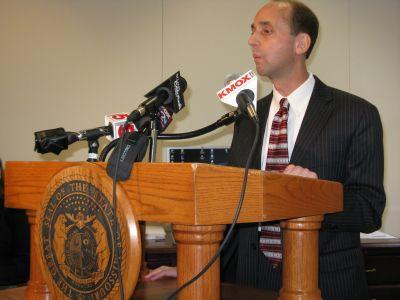 State Auditor Tom Schweich addresses the media on Tuesday.