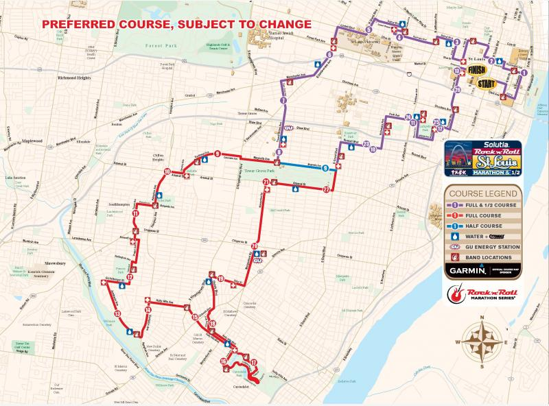 A map of the marathon and 1/2 marathon courses