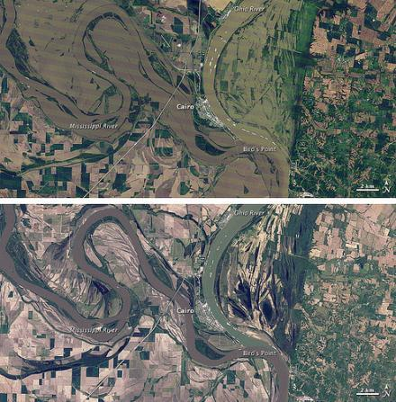 Satellite images show the Birds Point-New Madrid floodway before (bottom) and after (top) the intentional breach of the levee.