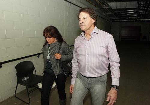 St. Louis Cardinals manager Tony La Russa and wife Elaine leave a press conference after announcing he has decided to retire at Busch Stadium in St. Louis on Oct. 31, 2011.