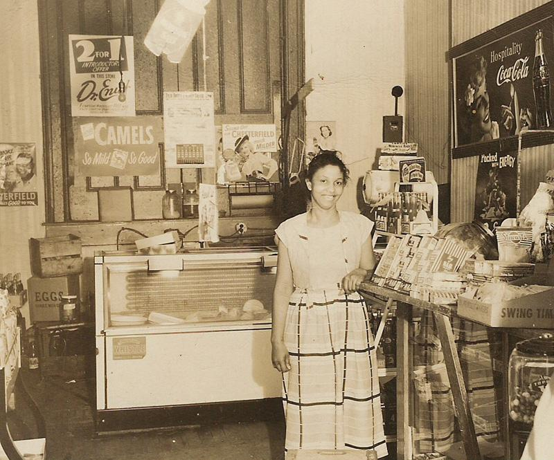 Lillie Pearson, age 33, at Tillie's Food Shop in 1948.