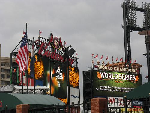 Busch Stadium prepared for Game 1 of the World Series in St. Louis on Oct. 19. Similar cloudy and cold conditions await the Cardinals and the Rangers tonight at the stadium for a pivotal Game 6.
