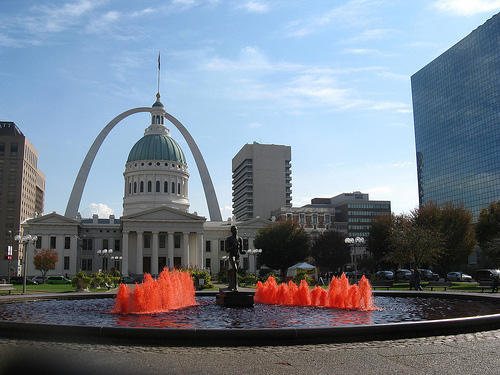 The 2011 World Series followed the tradition of turning the water red at The Runner's fountain.
