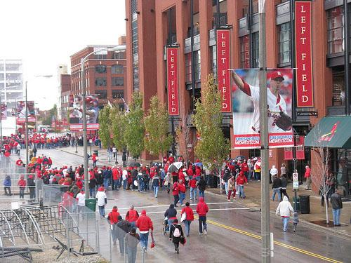 Crowds wait to enter Busch Stadium for Game 1 of the 2011 World Series in St. Louis on Oct. 19, 2011.