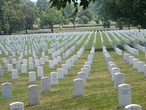 Arlington National Cemetery in Arlington, Va. Three soldiers missing in action during the Vietnam War, but reported as now-identified and found today by the U.S. Dept. of Defense, will be buried at Arlington with full military honors.