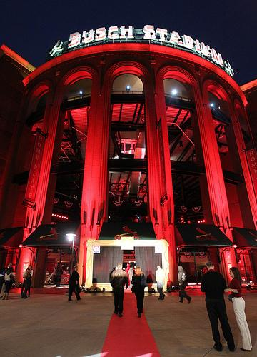Busch Stadium in bathed in a sea of red lights during a World Series Gala in St. Louis on October 18, 2011. The Cardinals will host the Texas Rangers for Game 1 of the 2011 World Series on October 19.
