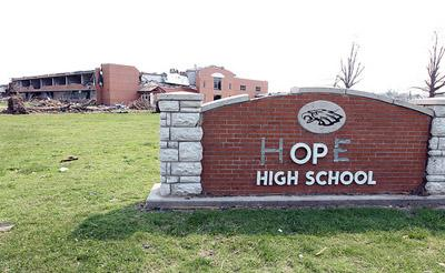 Joplin High School had a new name thanks to gaffers tape in Joplin, Missouri on June 8, 2011.  The town continues to recover from the devastating May 22 tornado that destroyed thousands of homes and businesses and killed over 160 people.