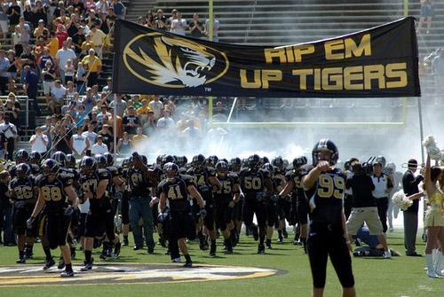 The University of Missouri (Columbia) Tigers football team just before a game in 2007. The University of Missouri system's board of curators may discuss realignment as speculation continues about a move from the Big 12 Conference.