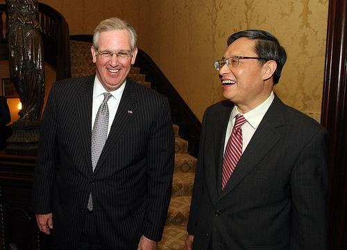 Missouri Governor Jay Nixon and China's Ambassador to the United States Zhou Wenzhong during a state dinner in Feb. 2010.