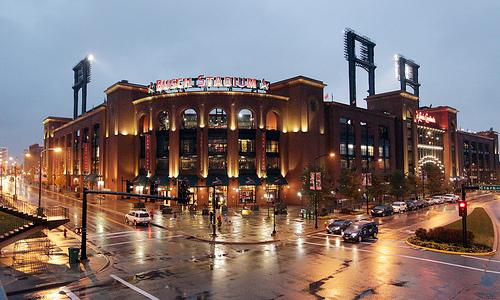 Very little traffic surrounds Busch Stadium as a steady rain falls in St. Louis on October 26, 2011. Game 6 of the 2011 World Series was postponed due to the inclement weather. Game 6 will be play Thursday night.