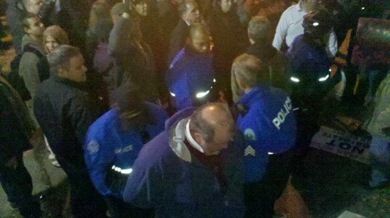 Some of the first arrests of Occupy St. Louis protesters at Kiener Plaza just after midnight on the morning of Nov. 12, 2011.
