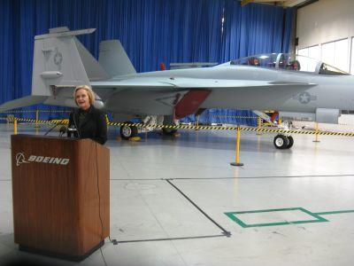 Senator Claire McCaskill, D-Mo. at Boeing in St. Louis on Nov. 21, 2011.