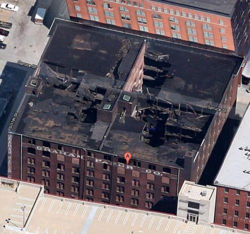 This screenshot from Google Maps shows the roof of Cupples 7 at 1014 Spruce. The building's owner has applied for a demolition permit, saying it's safer than having the building come down on its own.