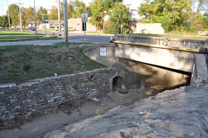 This combined sewer overflow (archway in channel) discharges sewage and rain water into the upper River Des Peres, on Ferguson Ave. just south of Melrose Ave. in University City.
