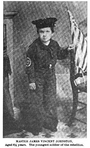 "Six-year-old Jimmie Johnston served as a Union ""powder monkey"" on a gunboat during the Civil War."