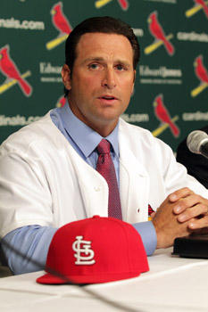 New St. Louis Cardinals manager Mike Matheny talks to reporters after it was announced Matheny would become the 49th manager in team history at Busch Stadium in St. Louis on Nov.14, 2011.