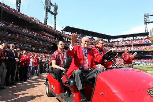 Stan Musial on opening day in 2011.