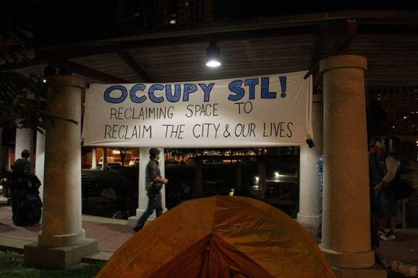 "The Occupy St. Louis encampment at Kiener Plaza. Protestors are blasting Mayor Francis Slay for ""heed[ing] the complaints of the corporate groups who control the city"" in his effort to clear the Plaza."