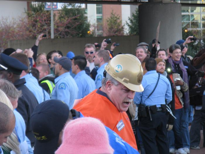 Gary Elliott, president of the LIUNA (Laborers' International Union of North America) Local 110 is arrested during an Occupy St. Louis protest in St. Louis near the Martin Luther King Bridge on Nov. 17, 2011.