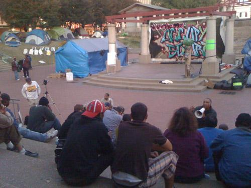 The OccupySTL camp in downtown St. Louis at Kiener Plaza.