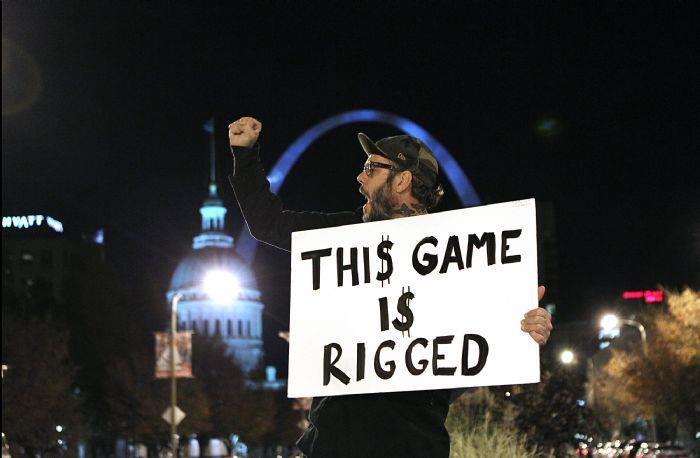 An Occupy St. Louis protester sharing his message in downtown St. Louis.
