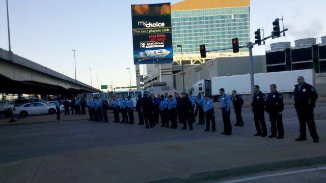Police stand ready to meet Occupy St. Louis protesters on the Martin Luther King bridge in St. Louis on Nov. 17, 2011.