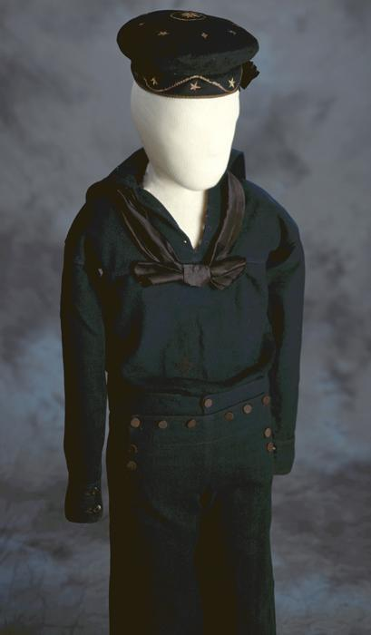 "The uniform made for six-year-old Jimmie Johnston who stepped into bring Union gunboat soldiers powder during a fight after the previous ""powder monkey"" was killed."