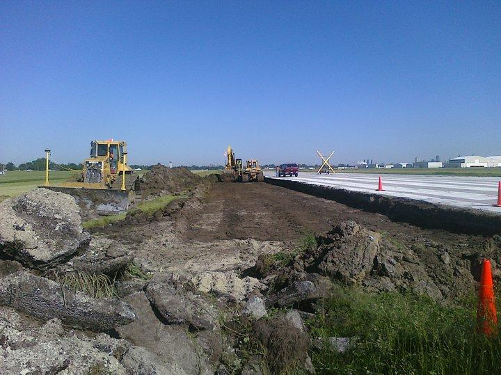 Construction on a now-finished runway at St. Louis Downtown Airport.