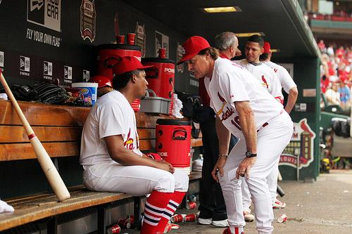 St. Louis Cardinals manager Tony La Russa (R) has words for relief pitcher Octavio Dotel after the eighth inning at Busch Stadium in St. Louis on July 30, 2011.  St. Louis defeated Chicago 13-5.