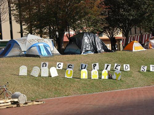 The Occupy St. Louis encampment in downtown St. Louis' Kiener Plaza on the morning of Nov. 11, 2011.
