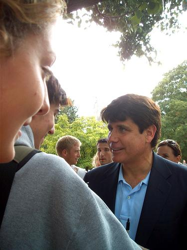 Former Ill. Gov. Rod Blagojevich greets students at Illinois State University in 2007. Judge James Zagel sentenced him to 14 years in federal prison today for corruption.