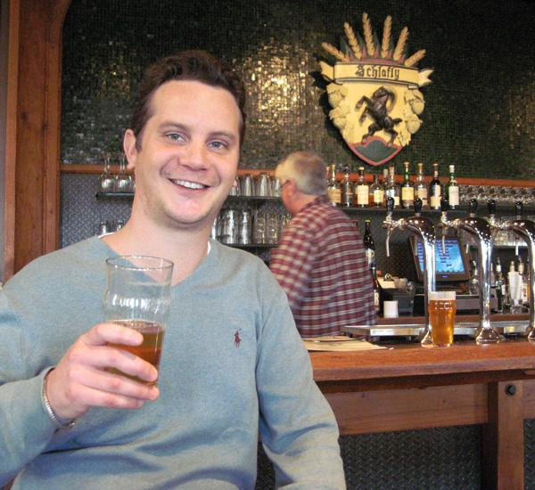St. Louis Post-Dispatch beer columnist Evan Benn enjoys a brew at the Schlafly Tap Room.